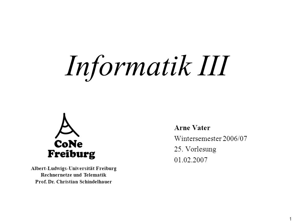 1 Albert-Ludwigs-Universität Freiburg Rechnernetze und Telematik Prof. Dr. Christian Schindelhauer Informatik III Arne Vater Wintersemester 2006/07 25