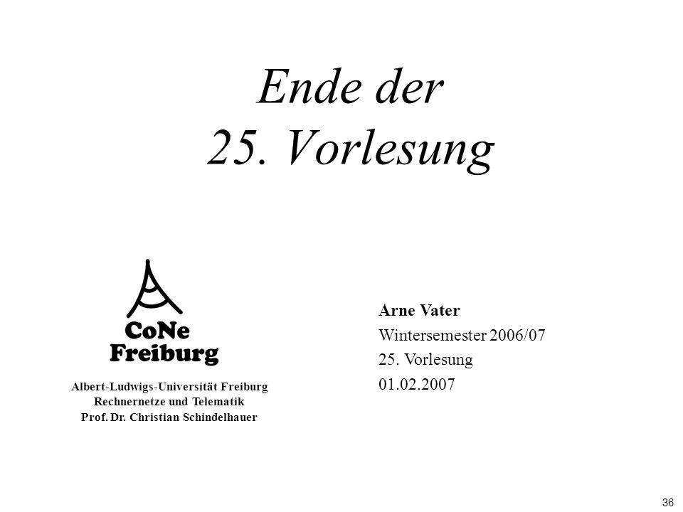 36 Albert-Ludwigs-Universität Freiburg Rechnernetze und Telematik Prof. Dr. Christian Schindelhauer Arne Vater Wintersemester 2006/07 25. Vorlesung 01
