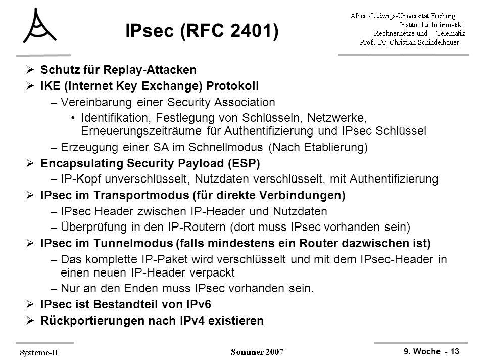 9. Woche - 13 IPsec (RFC 2401)  Schutz für Replay-Attacken  IKE (Internet Key Exchange) Protokoll –Vereinbarung einer Security Association Identifik