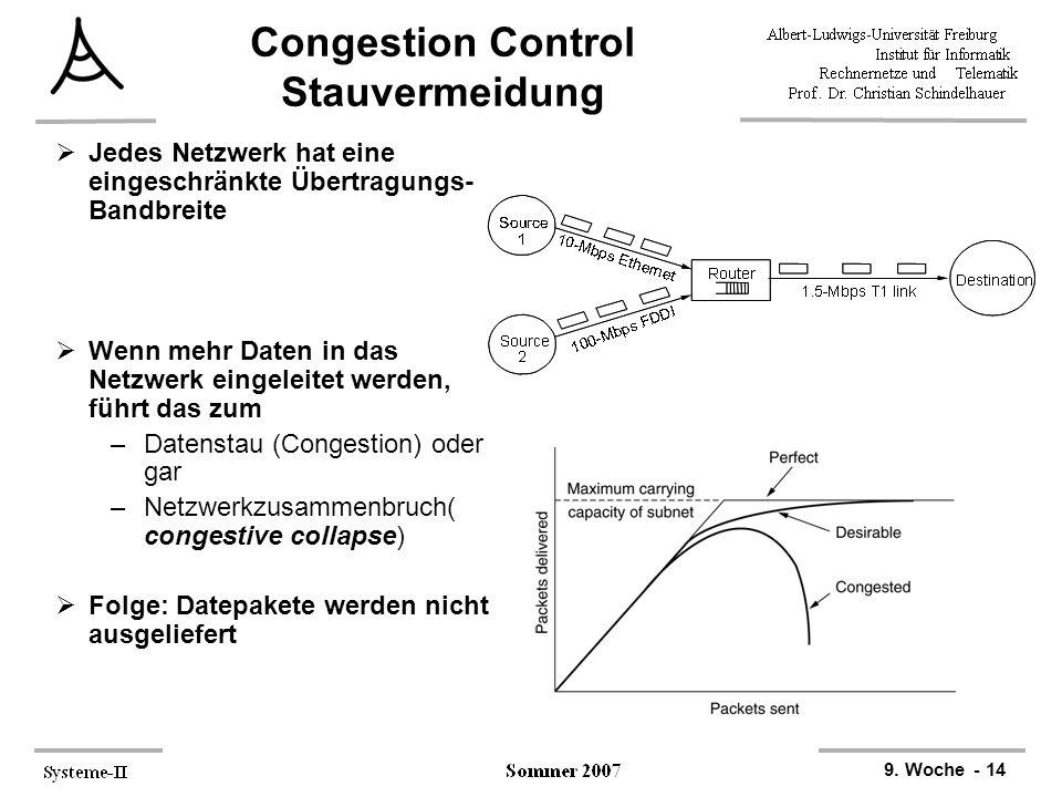 9. Woche - 14 Congestion Control Stauvermeidung  Jedes Netzwerk hat eine eingeschränkte Übertragungs- Bandbreite  Wenn mehr Daten in das Netzwerk ei