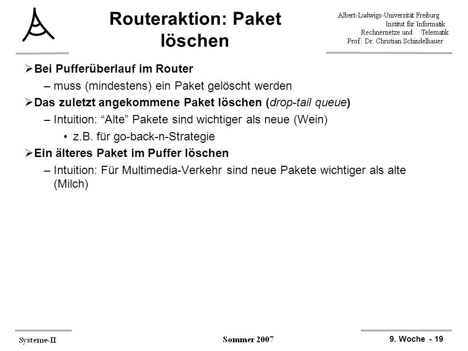 9. Woche - 19 Routeraktion: Paket löschen  Bei Pufferüberlauf im Router –muss (mindestens) ein Paket gelöscht werden  Das zuletzt angekommene Paket