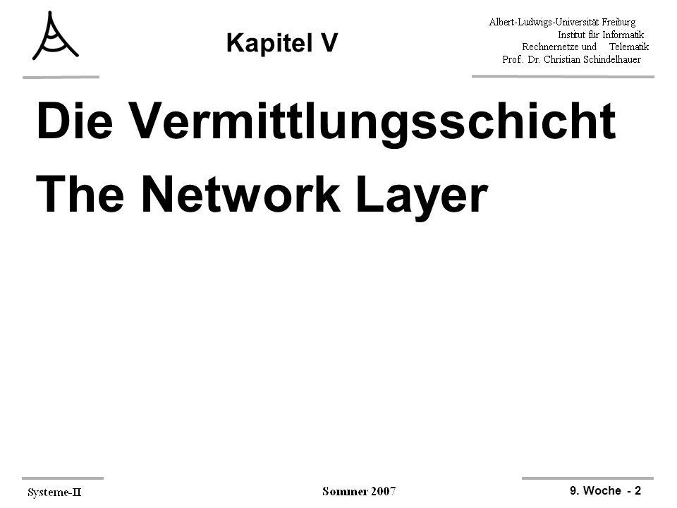 9. Woche - 2 Kapitel V Die Vermittlungsschicht The Network Layer