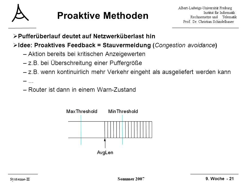 9. Woche - 21 Proaktive Methoden  Pufferüberlauf deutet auf Netzwerküberlast hin  Idee: Proaktives Feedback = Stauvermeidung (Congestion avoidance)