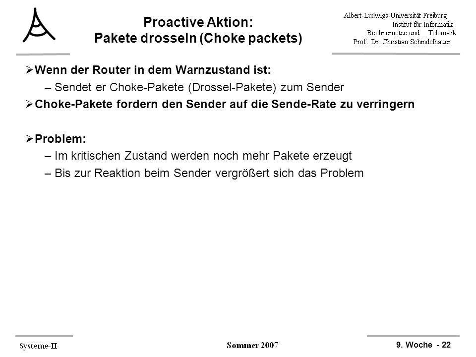 9. Woche - 22 Proactive Aktion: Pakete drosseln (Choke packets)  Wenn der Router in dem Warnzustand ist: –Sendet er Choke-Pakete (Drossel-Pakete) zum