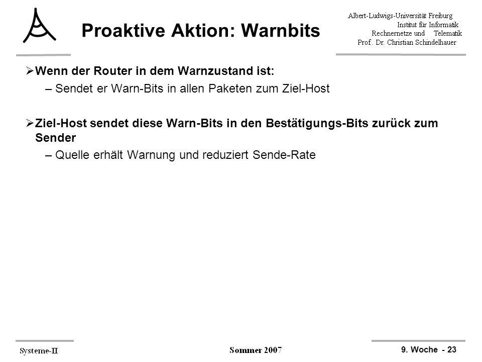 9. Woche - 23 Proaktive Aktion: Warnbits  Wenn der Router in dem Warnzustand ist: –Sendet er Warn-Bits in allen Paketen zum Ziel-Host  Ziel-Host sen