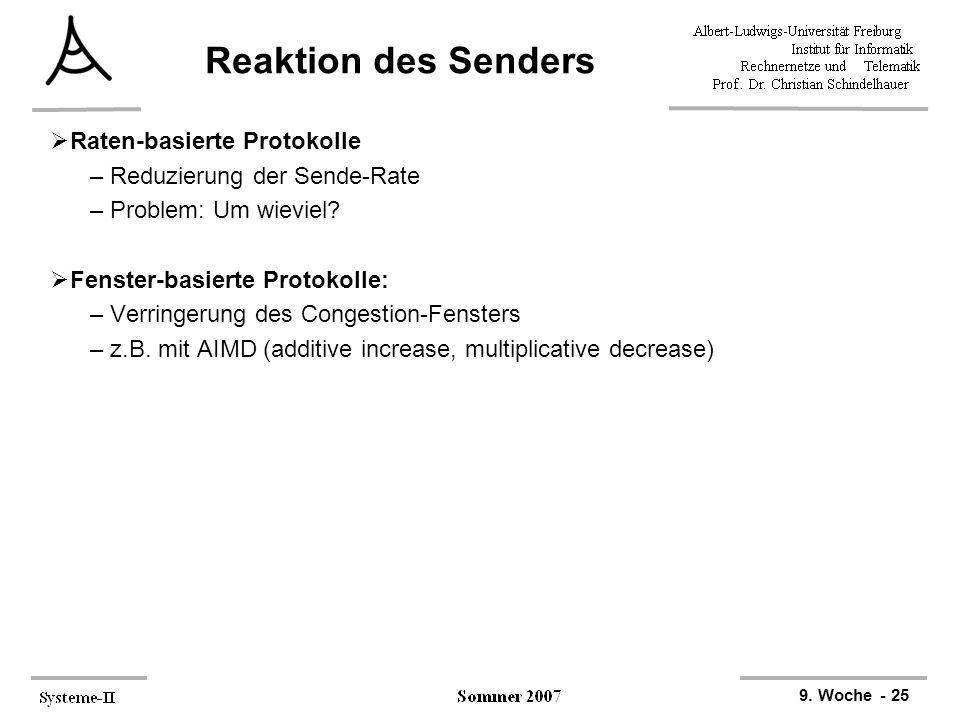 9. Woche - 25 Reaktion des Senders  Raten-basierte Protokolle –Reduzierung der Sende-Rate –Problem: Um wieviel?  Fenster-basierte Protokolle: –Verri