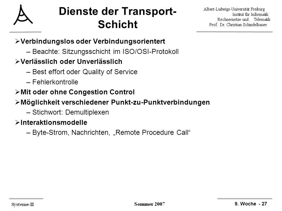 9. Woche - 27 Dienste der Transport- Schicht  Verbindungslos oder Verbindungsorientert –Beachte: Sitzungsschicht im ISO/OSI-Protokoll  Verlässlich o