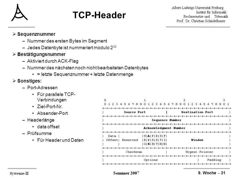 9. Woche - 31 TCP-Header  Sequenznummer –Nummer des ersten Bytes im Segment –Jedes Datenbyte ist nummeriert modulo 2 32  Bestätigungsnummer –Aktivie