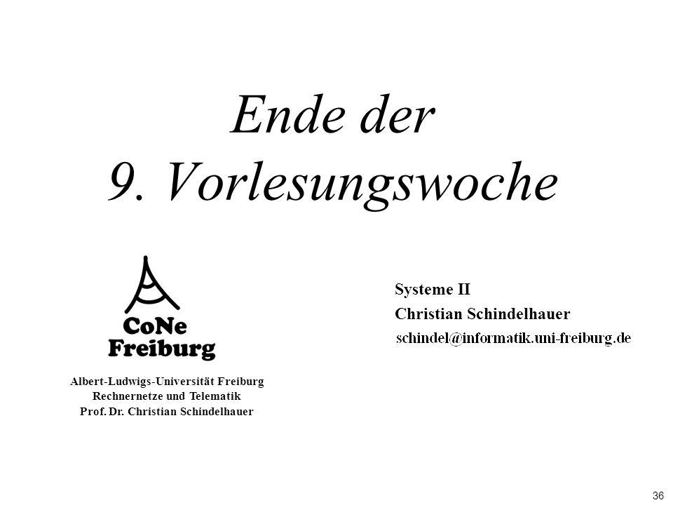 36 Albert-Ludwigs-Universität Freiburg Rechnernetze und Telematik Prof. Dr. Christian Schindelhauer Ende der 9. Vorlesungswoche Systeme II Christian S