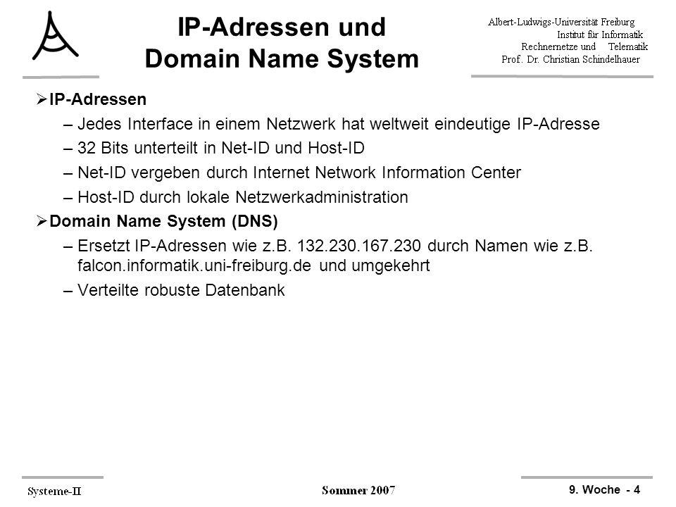 9. Woche - 4 IP-Adressen und Domain Name System  IP-Adressen –Jedes Interface in einem Netzwerk hat weltweit eindeutige IP-Adresse –32 Bits unterteil