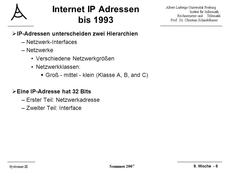 9. Woche - 6 Internet IP Adressen bis 1993  IP-Adressen unterscheiden zwei Hierarchien –Netzwerk-Interfaces –Netzwerke Verschiedene Netzwerkgrößen Ne
