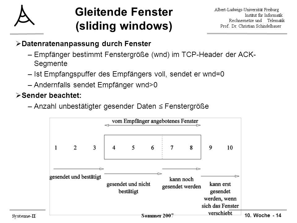 10. Woche - 14 Gleitende Fenster (sliding windows)  Datenratenanpassung durch Fenster –Empfänger bestimmt Fenstergröße (wnd) im TCP-Header der ACK- S