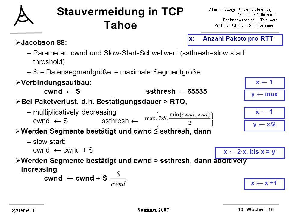 10. Woche - 16  Jacobson 88: –Parameter: cwnd und Slow-Start-Schwellwert (ssthresh=slow start threshold) –S = Datensegmentgröße = maximale Segmentgrö