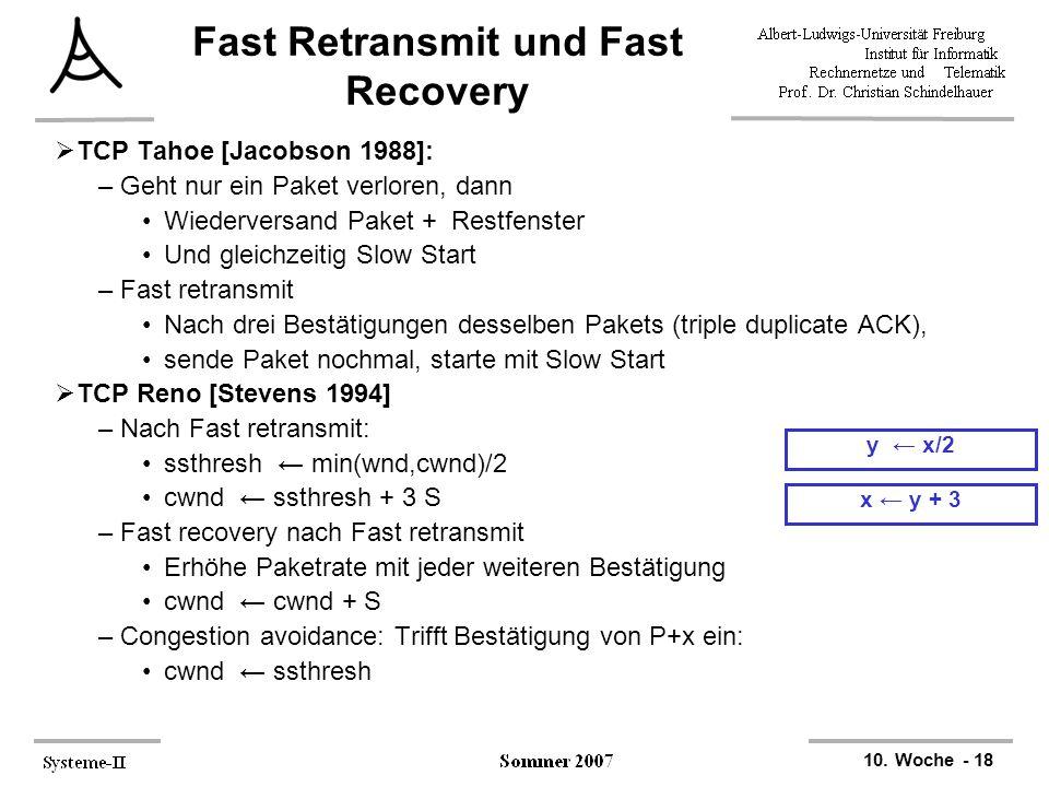 10. Woche - 18 x ← y + 3 y ← x/2 Fast Retransmit und Fast Recovery  TCP Tahoe [Jacobson 1988]: –Geht nur ein Paket verloren, dann Wiederversand Paket
