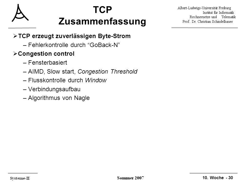 """10. Woche - 30 TCP Zusammenfassung  TCP erzeugt zuverlässigen Byte-Strom –Fehlerkontrolle durch """"GoBack-N""""  Congestion control –Fensterbasiert –AIMD"""