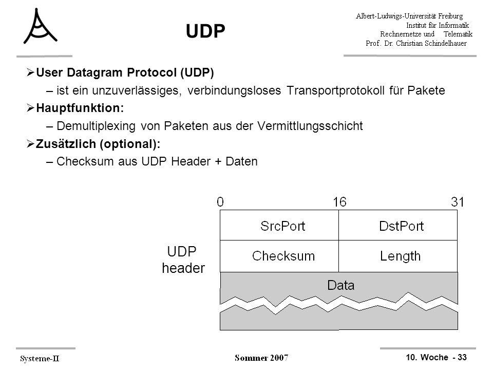 10. Woche - 33 UDP  User Datagram Protocol (UDP) –ist ein unzuverlässiges, verbindungsloses Transportprotokoll für Pakete  Hauptfunktion: –Demultipl