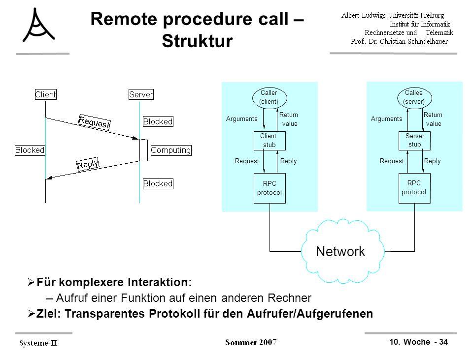 10. Woche - 34 Remote procedure call – Struktur  Für komplexere Interaktion: –Aufruf einer Funktion auf einen anderen Rechner  Ziel: Transparentes P