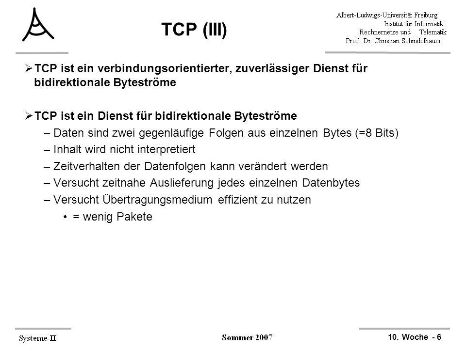 10. Woche - 6 TCP (III)  TCP ist ein verbindungsorientierter, zuverlässiger Dienst für bidirektionale Byteströme  TCP ist ein Dienst für bidirektion