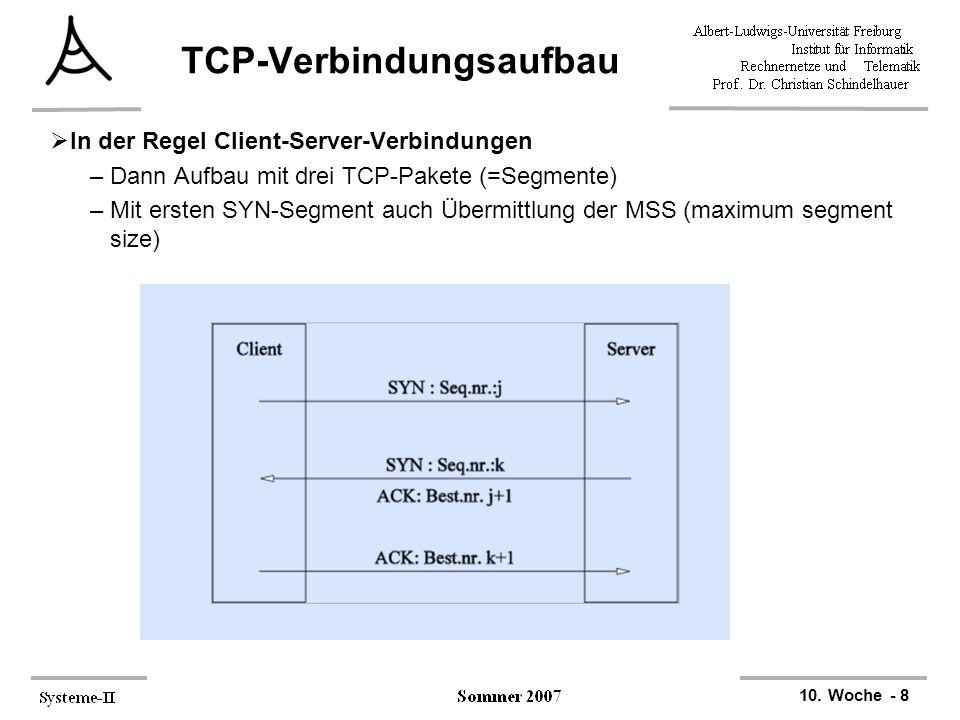 10. Woche - 8 TCP-Verbindungsaufbau  In der Regel Client-Server-Verbindungen –Dann Aufbau mit drei TCP-Pakete (=Segmente) –Mit ersten SYN-Segment auc