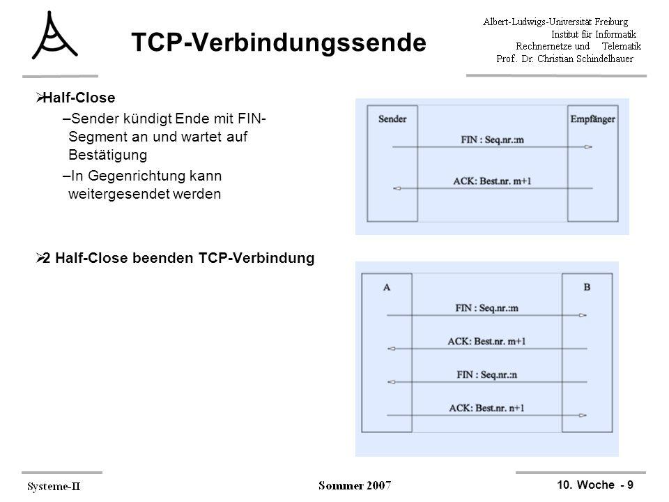 10. Woche - 9 TCP-Verbindungssende  Half-Close –Sender kündigt Ende mit FIN- Segment an und wartet auf Bestätigung –In Gegenrichtung kann weitergesen