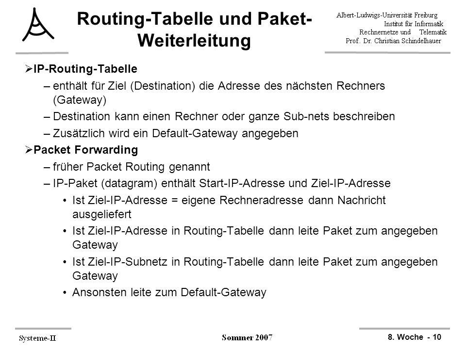 8. Woche - 10 Routing-Tabelle und Paket- Weiterleitung  IP-Routing-Tabelle –enthält für Ziel (Destination) die Adresse des nächsten Rechners (Gateway