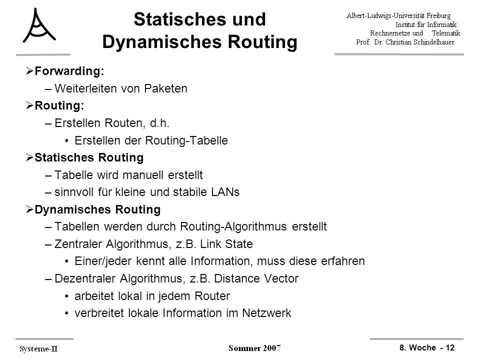 8. Woche - 12 Statisches und Dynamisches Routing  Forwarding: –Weiterleiten von Paketen  Routing: –Erstellen Routen, d.h. Erstellen der Routing-Tabe