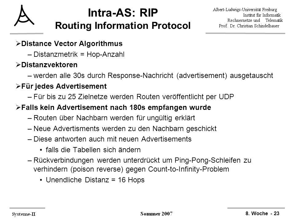 8. Woche - 23 Intra-AS: RIP Routing Information Protocol  Distance Vector Algorithmus –Distanzmetrik = Hop-Anzahl  Distanzvektoren –werden alle 30s
