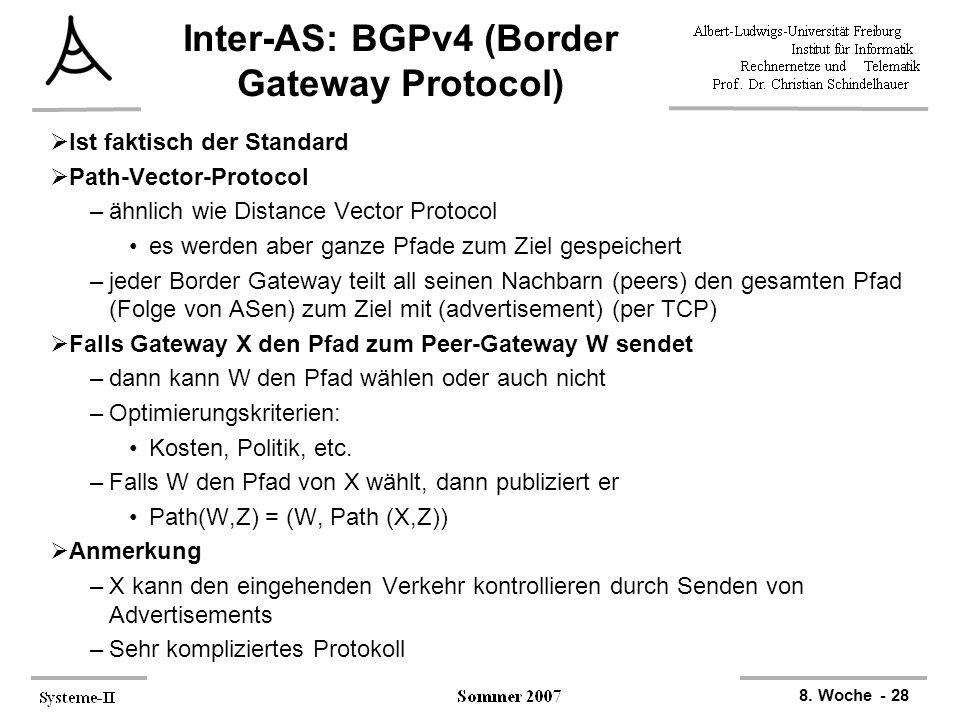 8. Woche - 28 Inter-AS: BGPv4 (Border Gateway Protocol)  Ist faktisch der Standard  Path-Vector-Protocol –ähnlich wie Distance Vector Protocol es we