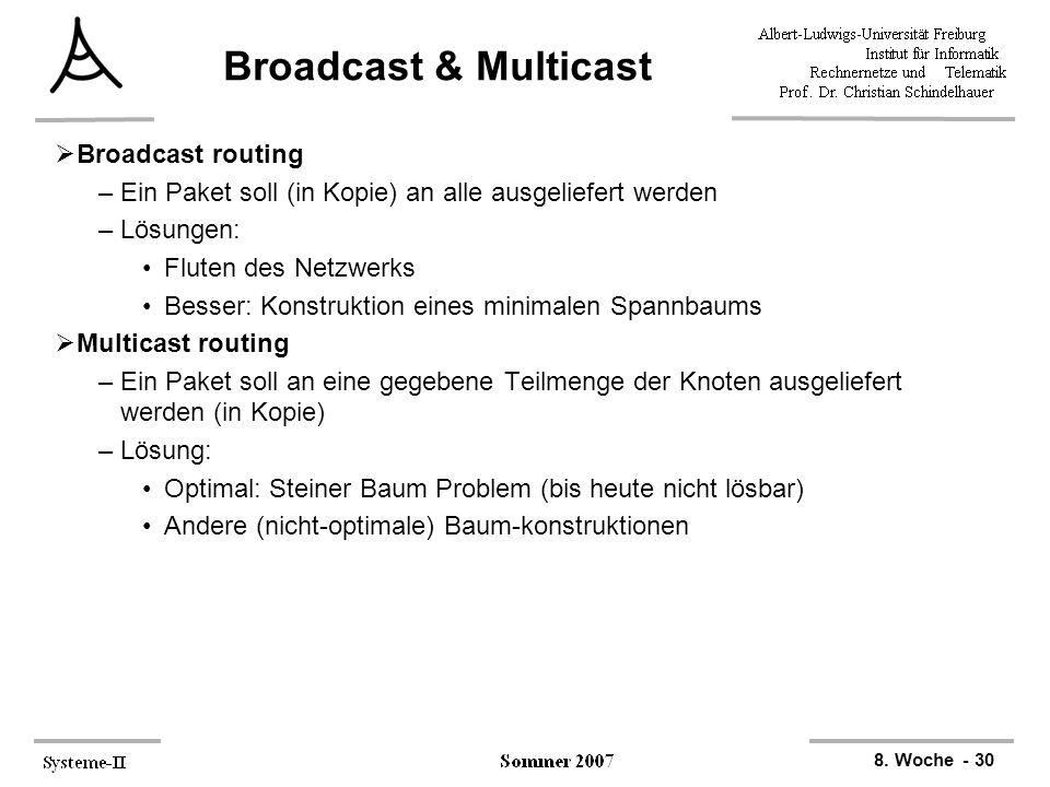 8. Woche - 30 Broadcast & Multicast  Broadcast routing –Ein Paket soll (in Kopie) an alle ausgeliefert werden –Lösungen: Fluten des Netzwerks Besser: