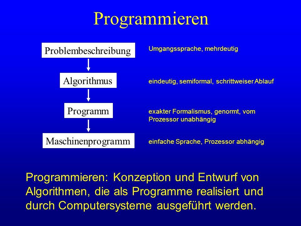 Programmieren: Konzeption und Entwurf von Algorithmen, die als Programme realisiert und durch Computersysteme ausgeführt werden. Programmieren Problem