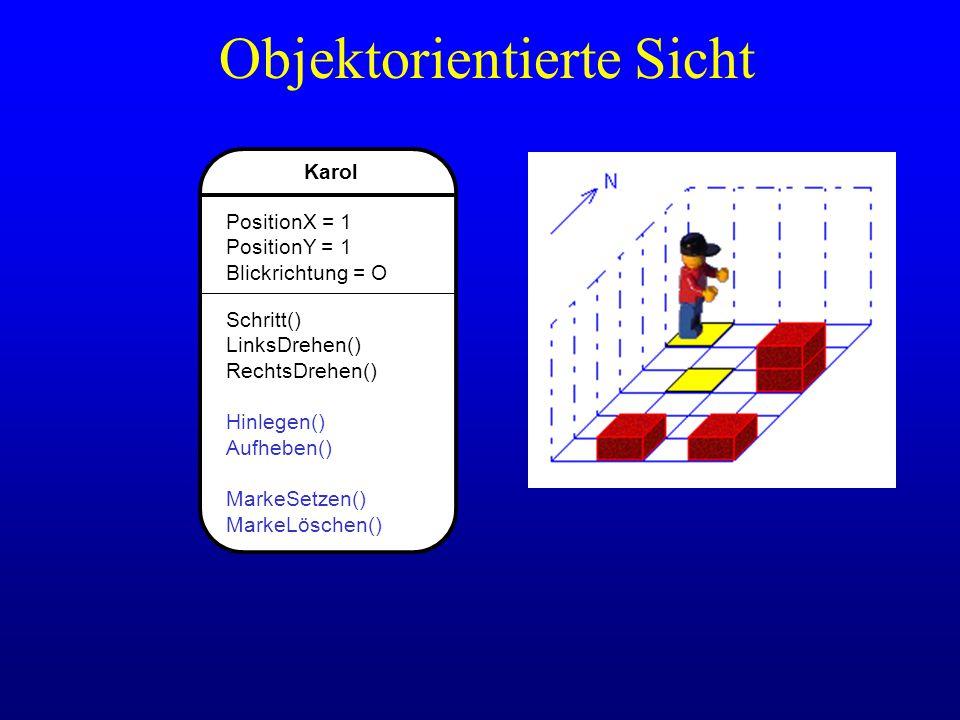 Karol PositionX = 1 PositionY = 1 Blickrichtung = O Schritt() LinksDrehen() RechtsDrehen() Hinlegen() Aufheben() MarkeSetzen() MarkeLöschen() Objektor