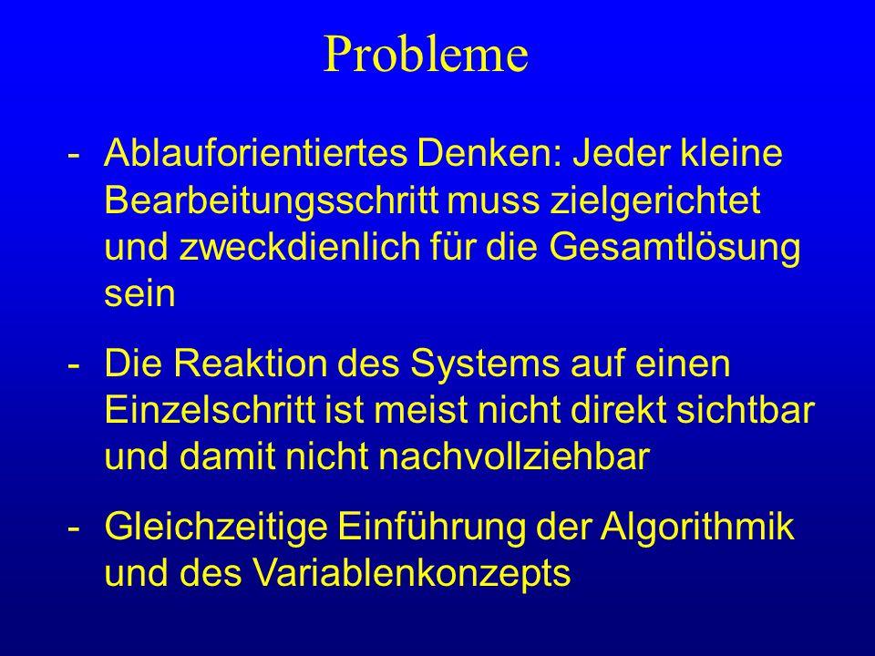 Probleme -Ablauforientiertes Denken: Jeder kleine Bearbeitungsschritt muss zielgerichtet und zweckdienlich für die Gesamtlösung sein -Die Reaktion des
