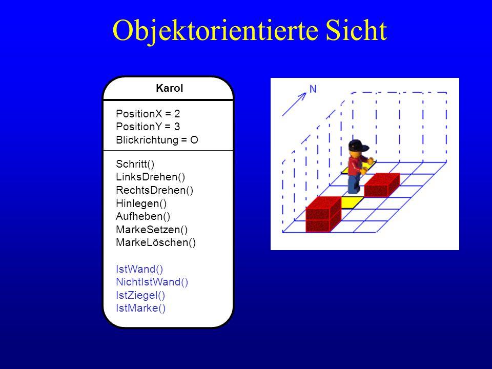 Karol PositionX = 2 PositionY = 3 Blickrichtung = O Schritt() LinksDrehen() RechtsDrehen() Hinlegen() Aufheben() MarkeSetzen() MarkeLöschen() IstWand(