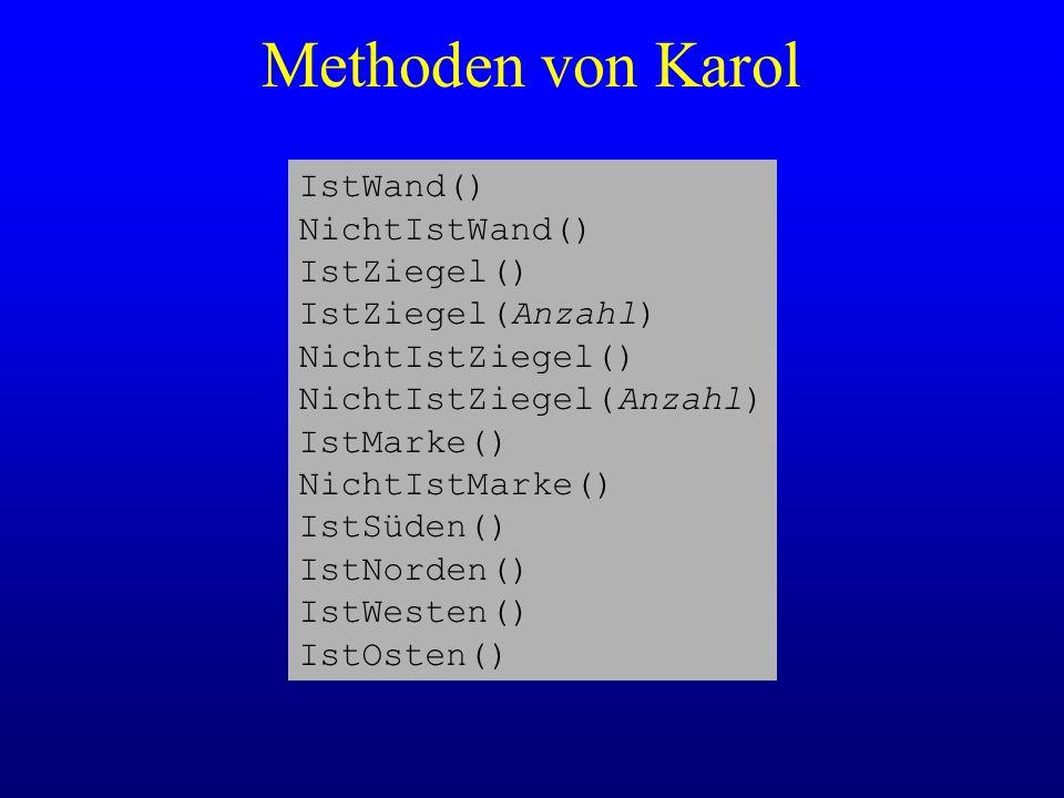 Methoden von Karol IstWand() NichtIstWand() IstZiegel() IstZiegel(Anzahl) NichtIstZiegel() NichtIstZiegel(Anzahl) IstMarke() NichtIstMarke() IstSüden(