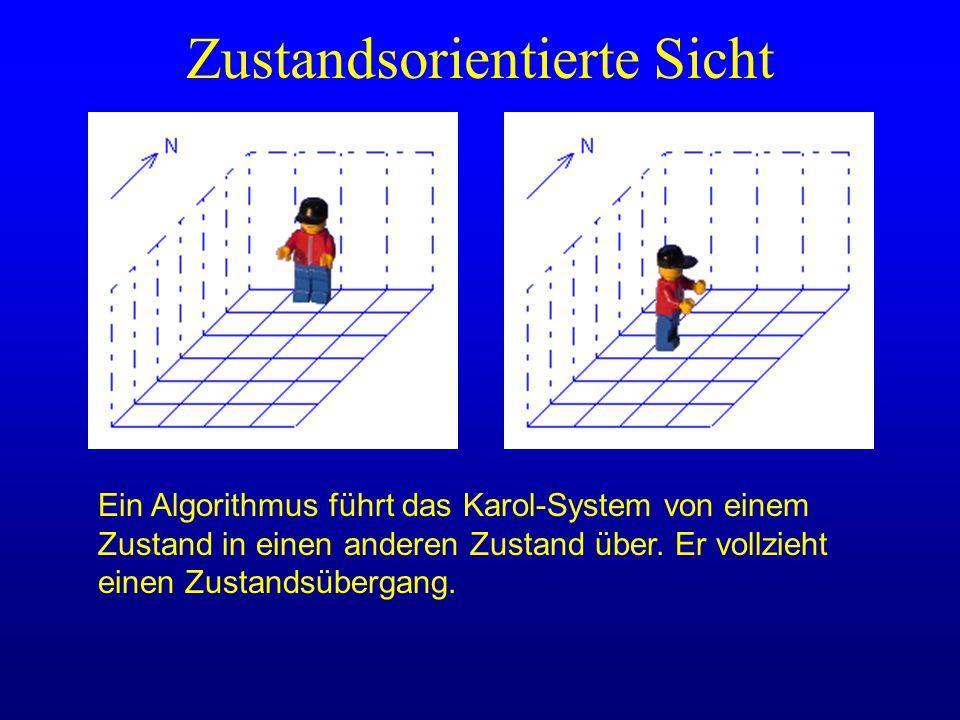 Ein Algorithmus führt das Karol-System von einem Zustand in einen anderen Zustand über. Er vollzieht einen Zustandsübergang. Zustandsorientierte Sicht