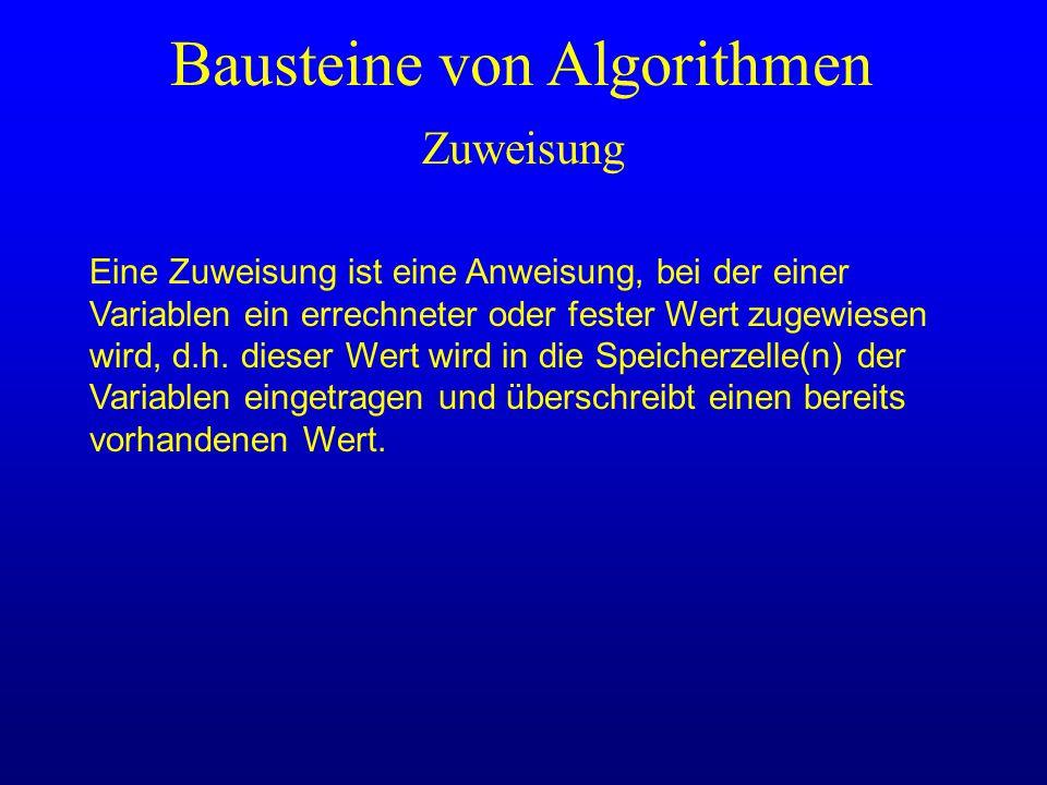 Zuweisung Bausteine von Algorithmen Eine Zuweisung ist eine Anweisung, bei der einer Variablen ein errechneter oder fester Wert zugewiesen wird, d.h.