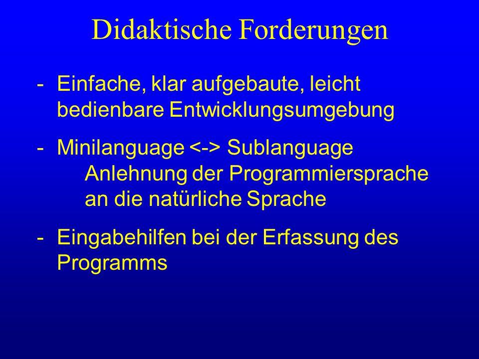 Didaktische Forderungen -Einfache, klar aufgebaute, leicht bedienbare Entwicklungsumgebung -Minilanguage Sublanguage Anlehnung der Programmiersprache