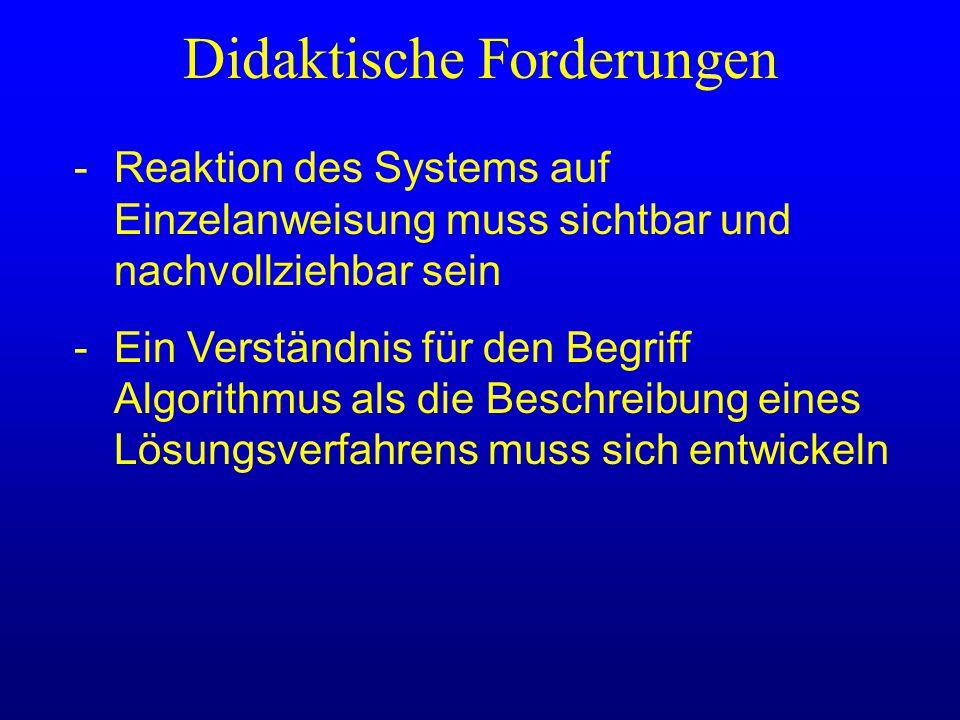 Didaktische Forderungen -Reaktion des Systems auf Einzelanweisung muss sichtbar und nachvollziehbar sein -Ein Verständnis für den Begriff Algorithmus