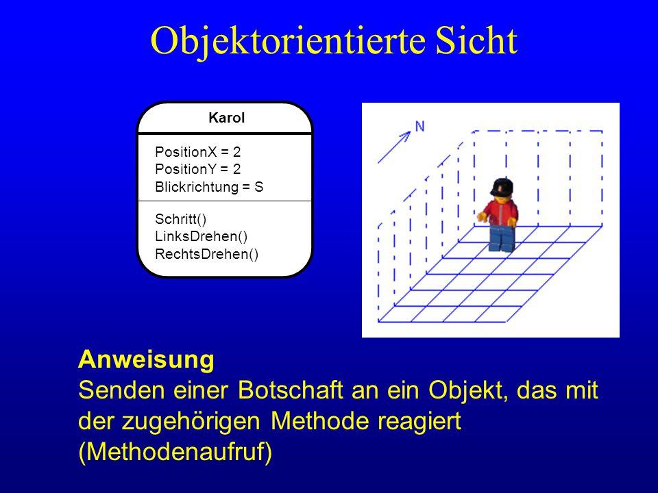 Karol PositionX = 2 PositionY = 2 Blickrichtung = S Schritt() LinksDrehen() RechtsDrehen() Objektorientierte Sicht Anweisung Senden einer Botschaft an