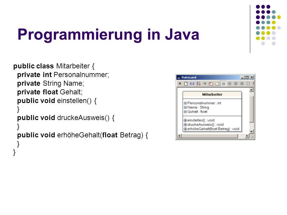 Programmierung in Java public class Mitarbeiter { private int Personalnummer; private String Name; private float Gehalt; public void einstellen() { } public void druckeAusweis() { } public void erhöheGehalt(float Betrag) { }