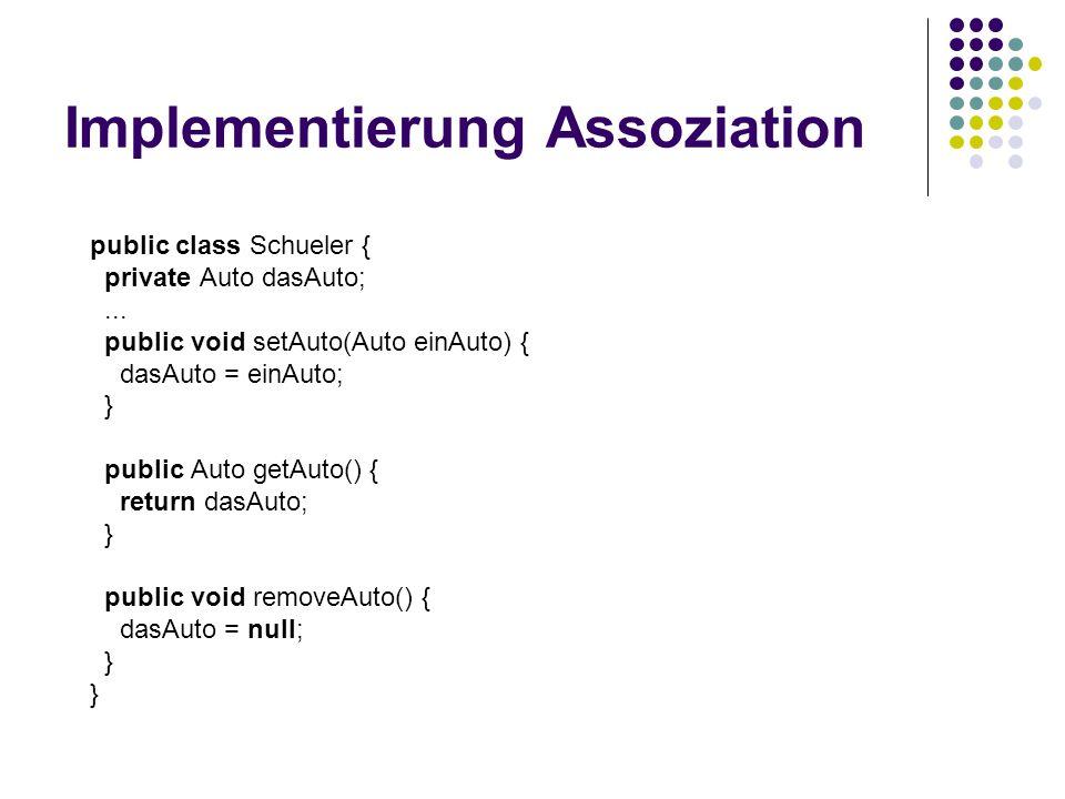 Implementierung Assoziation public class Schueler { private Auto dasAuto;...