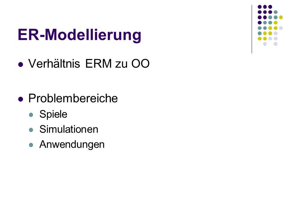 ER-Modellierung Verhältnis ERM zu OO Problembereiche Spiele Simulationen Anwendungen