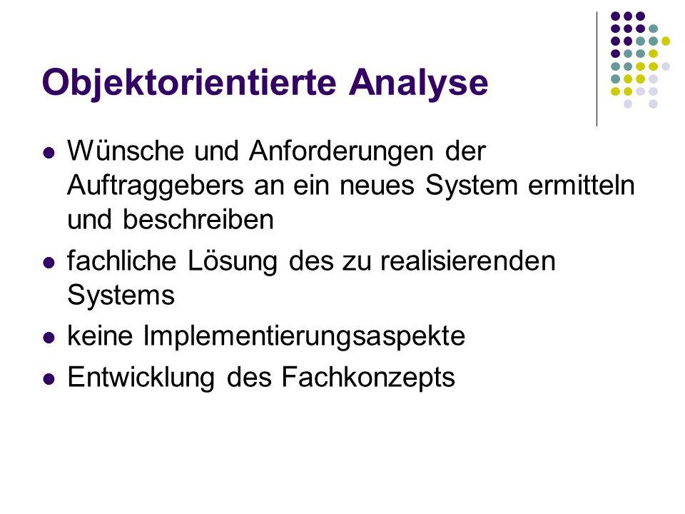 Objektorientierte Analyse Wünsche und Anforderungen der Auftraggebers an ein neues System ermitteln und beschreiben fachliche Lösung des zu realisierenden Systems keine Implementierungsaspekte Entwicklung des Fachkonzepts