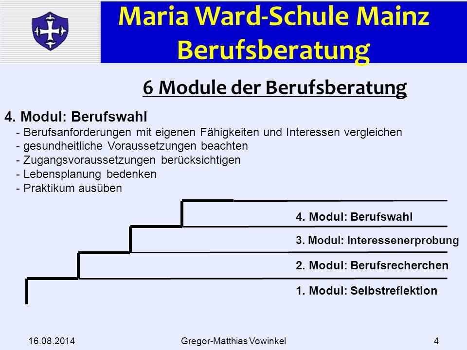 Maria Ward-Schule Mainz Berufsberatung 16.08.2014Gregor-Matthias Vowinkel5 6 Module der Berufsberatung 4.