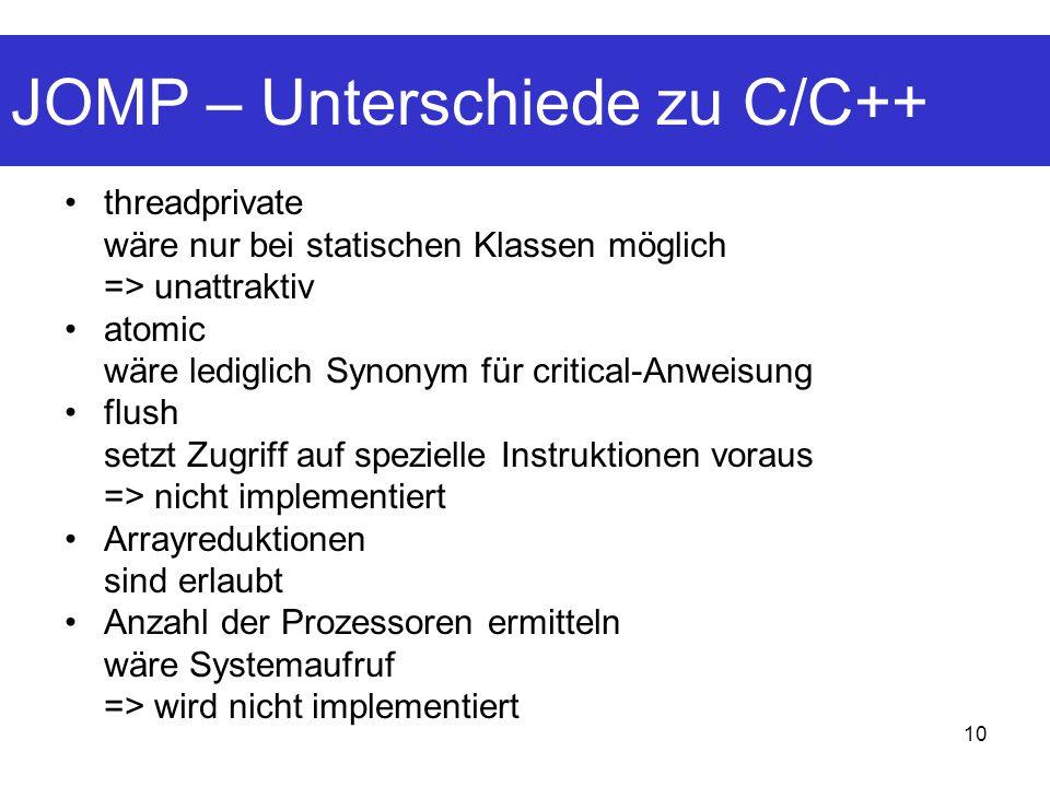 10 JOMP – Unterschiede zu C/C++ threadprivate wäre nur bei statischen Klassen möglich => unattraktiv atomic wäre lediglich Synonym für critical-Anweisung flush setzt Zugriff auf spezielle Instruktionen voraus => nicht implementiert Arrayreduktionen sind erlaubt Anzahl der Prozessoren ermitteln wäre Systemaufruf => wird nicht implementiert