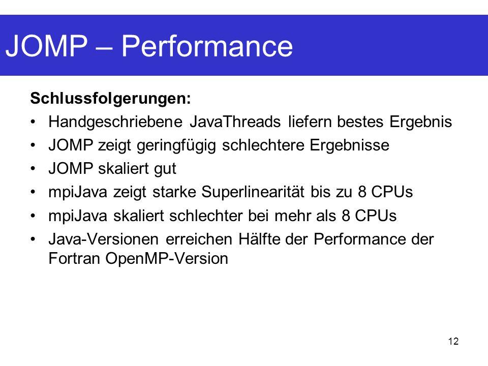 12 JOMP – Performance Schlussfolgerungen: Handgeschriebene JavaThreads liefern bestes Ergebnis JOMP zeigt geringfügig schlechtere Ergebnisse JOMP skaliert gut mpiJava zeigt starke Superlinearität bis zu 8 CPUs mpiJava skaliert schlechter bei mehr als 8 CPUs Java-Versionen erreichen Hälfte der Performance der Fortran OpenMP-Version