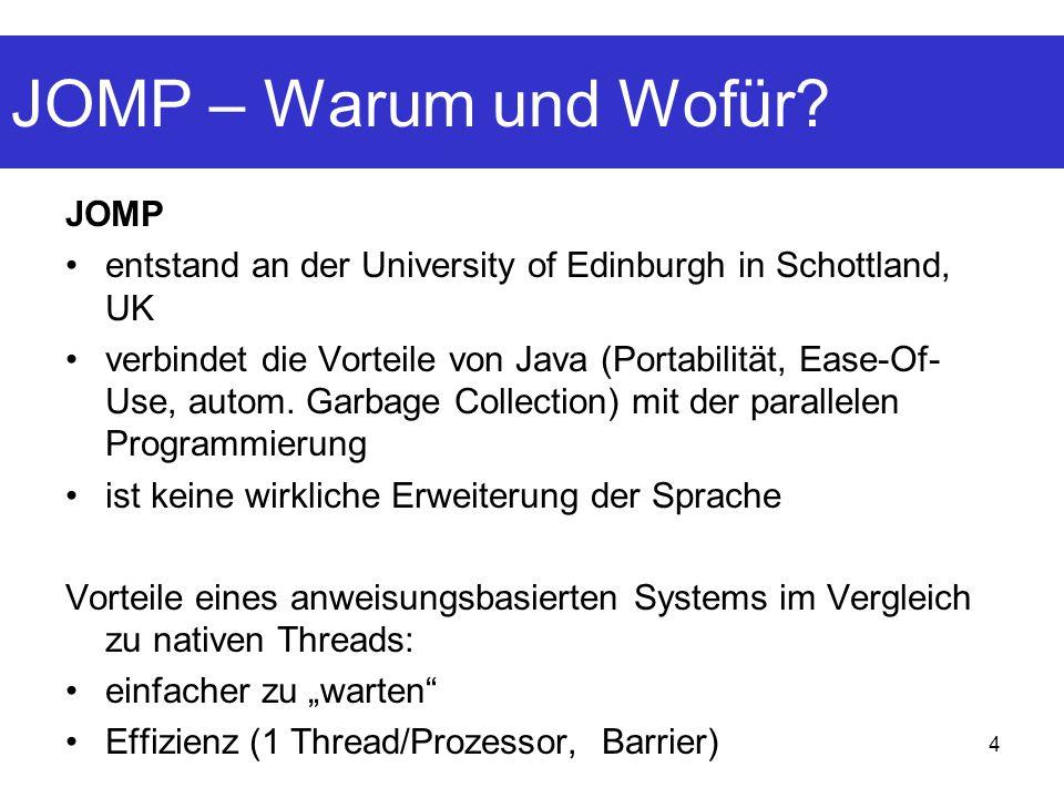 4 JOMP entstand an der University of Edinburgh in Schottland, UK verbindet die Vorteile von Java (Portabilität, Ease-Of- Use, autom. Garbage Collectio