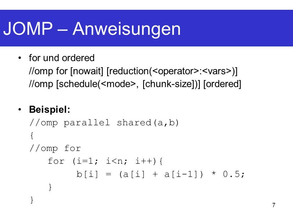 18 JOMP – Fazit und Ausblick Nur geringfügige Änderungen zum C/C++-Standard Nur kleiner Overhead im Vergleich zum handgeschriebenen Java-Thread-Programm Komplette Spezifikation wird wohl bald veröffentlicht werden Kleine Teile der Spezifikation bleiben noch zu implementieren