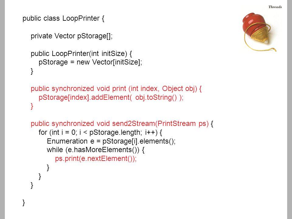 public class LoopPrinter { private Vector pStorage[]; public LoopPrinter(int initSize) { pStorage = new Vector[initSize]; } public synchronized void p