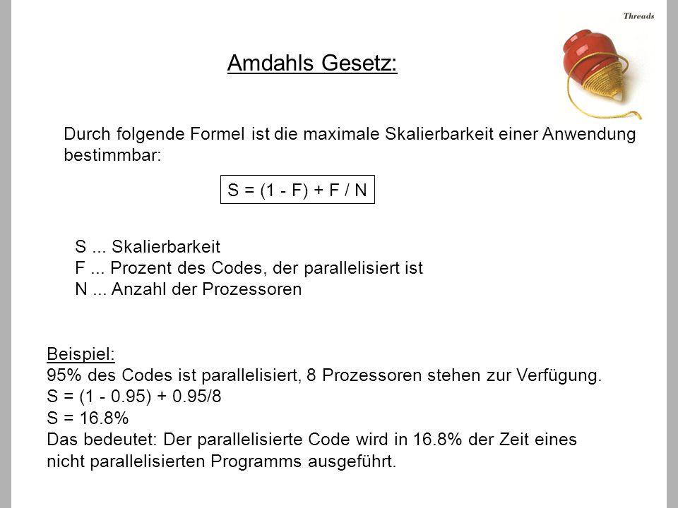Amdahls Gesetz: Durch folgende Formel ist die maximale Skalierbarkeit einer Anwendung bestimmbar: S = (1 - F) + F / N S...